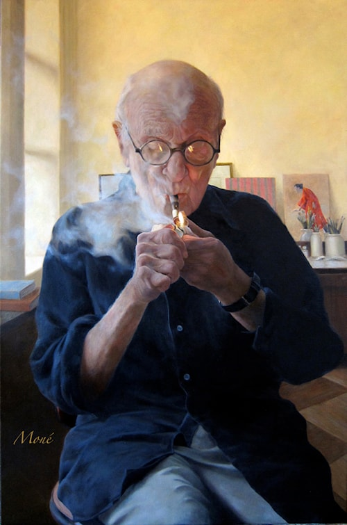 Blowing Smoke (Portrait of Aaron Shikler)