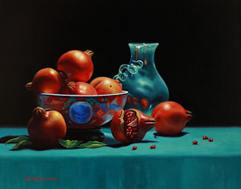 Imari Bowl with Pomegranates by Vicki Sullivan