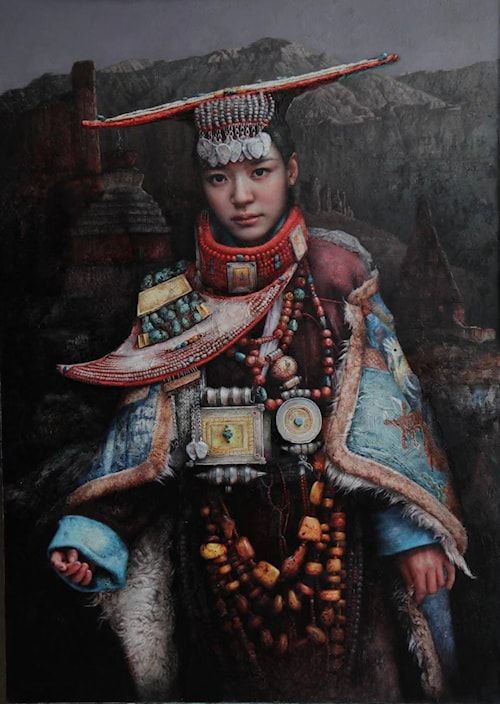 西藏盛装少女 (Girl in Tibetan Dress)