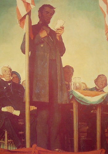 Abraham Delivering the Gettysburg Address by Norman Rockwell