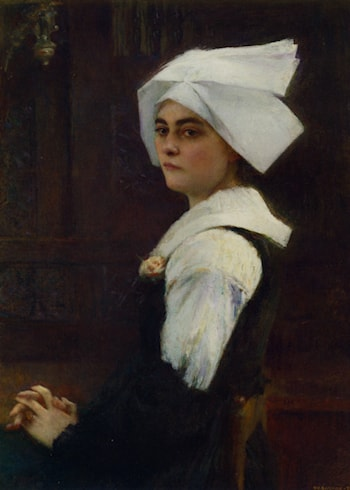 Portrait of a Brittany Girl by Pascal-Adolphe-Jean Dagnan-Bouveret
