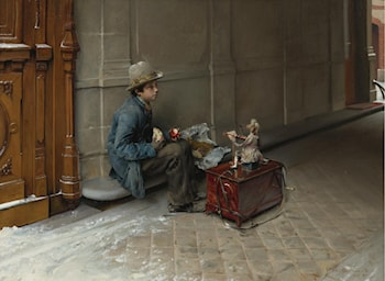 The Petit Savoyard Eating in Front of an Entrance to a House by Pascal-Adolphe-Jean Dagnan-Bouveret