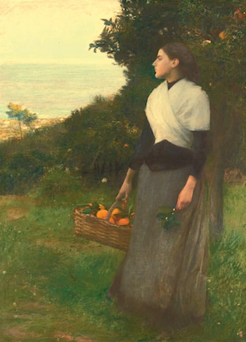 Young Woman in a Garden of Oranges by Pascal-Adolphe-Jean Dagnan-Bouveret