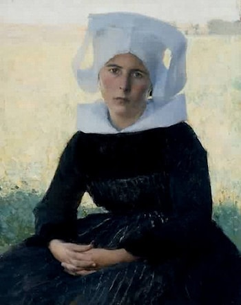 Woman in Breton Costume Seated in a Meadow by Pascal-Adolphe-Jean Dagnan-Bouveret