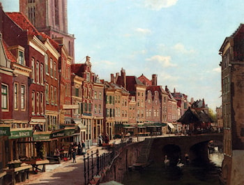 Townsfolk Shopping Along The Oude Gracht, Utrecht by Willem Johannes Oppenoorth