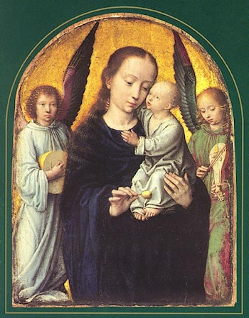 Mary and Child with two Angels Making Music by Gerard David