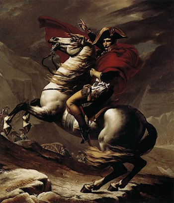 Bonaparte, Calm on a Fiery Steed, Crossing the Alps by Jacques-Louis David