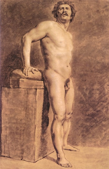 Male Academy Figure, probably Polonais, standing by Eugene Delacroix