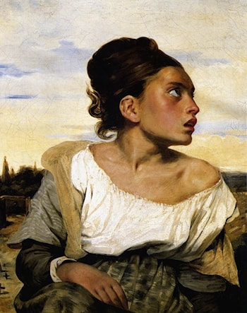 Girl Seated in a Cemetery by Eugene Delacroix
