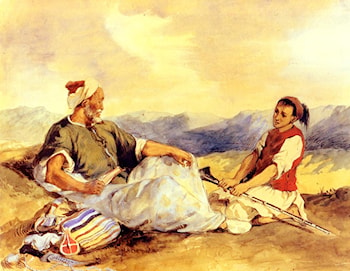 Two Moroccans Seated In The Countryside by Eugene Delacroix
