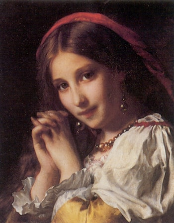 Portrait of a Girl with Red Shawl by Etienne Adolphe Piot