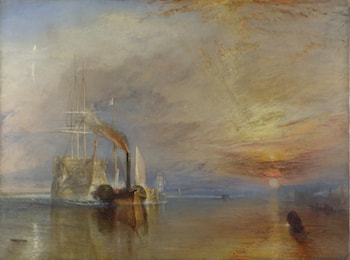 J. M. W. Turner: The Fighting Temeraire tugged to her last Berth to be broken up by Joseph Mallord William Turner