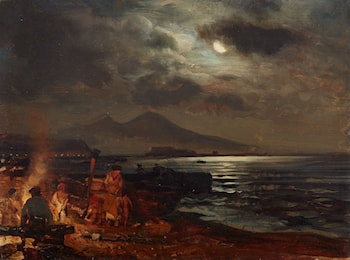 View of the Bay of Naples with Mount Vesuvius by Night by Oswald Achenbach