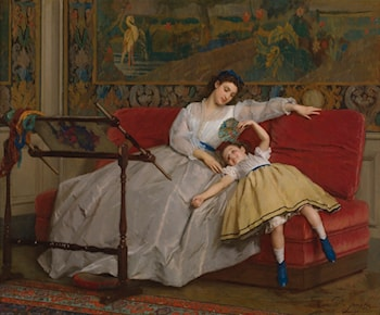 Mother With Her Young Daughter by Gustave Leonhard de Jonghe