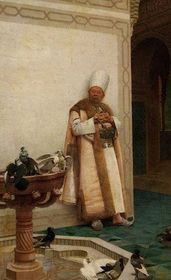 A Grand White Enuch Watching Doves by Jehan Georges Vibert
