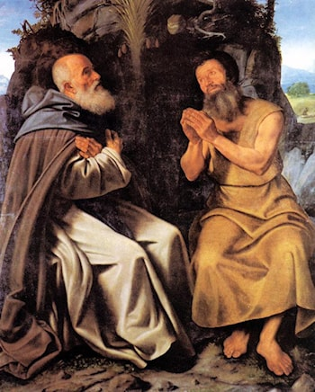 St Anthony Abbot and St Paul by Giovanni Girolamo Savoldo