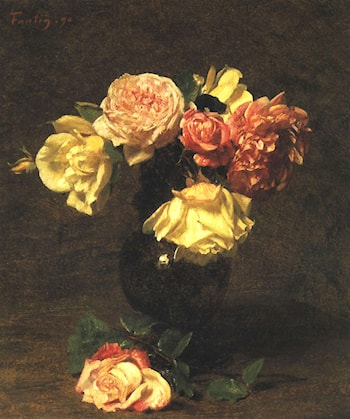 White and Pink Roses by Henri Fantin-Latour