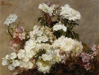 White Phlox, Summer Chrysanthemum and Larkspur by Henri Fantin-Latour