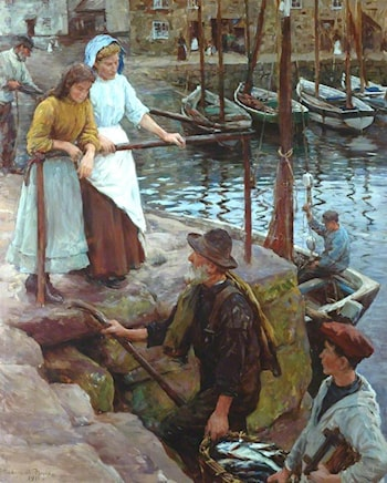 The Old Pier Steps by Stanhope Alexander Forbes