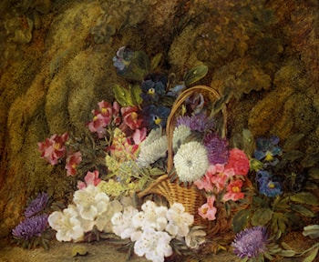 Still life with a basket of flowers by Vincent Clare