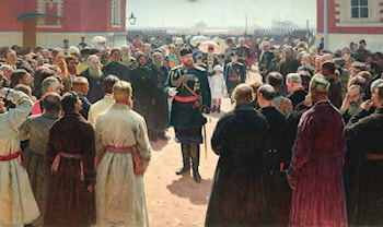 Aleksander III receiving rural district elders in the yard of Petrovsky Palace in Moscow by Il'ya Repin