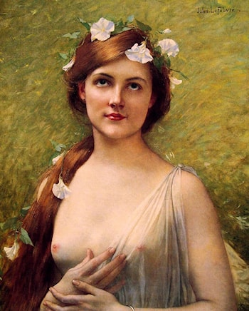 Young Woman with Morning Glories in Her Hair by Jules Joseph Lefebvre