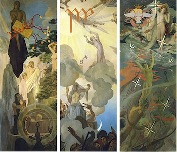 Three panels from The Hound of Heaven: A Pictorial Sequence by Robert Hale Ives Gammell
