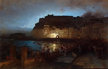 Fireworks in Naples by Oswald Achenbach