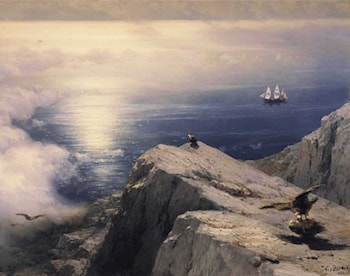 A Rocky Coastal Landscape in the Aegean with Ships in the Distance - detail by Ivan Constantinovich Ayvazovsky