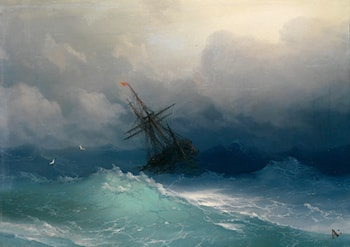Ship on Stormy Seas by Ivan Constantinovich Ayvazovsky