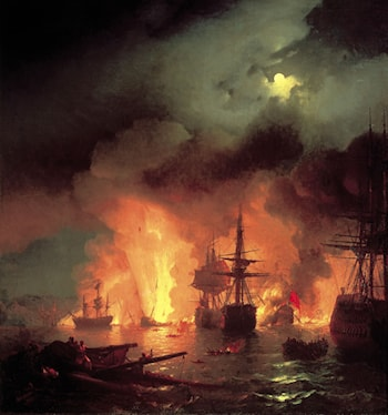Battle of Chesma by Ivan Constantinovich Ayvazovsky