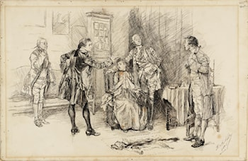 Illustration to 'She Stoops to Conquer' by Edwin Austin Abbey