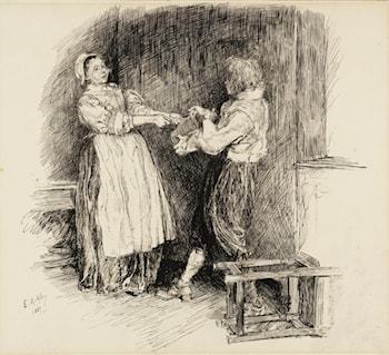 Illustration to 'The Leather Bottel' by Edwin Austin Abbey