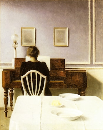 Interior with a girl at the clavier by Vilhelm Hammershoi