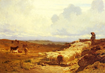 A Shepherd and his Flock by Auguste Bonheur
