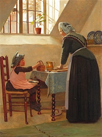Making Blackberry Pie by Edith Hayllar