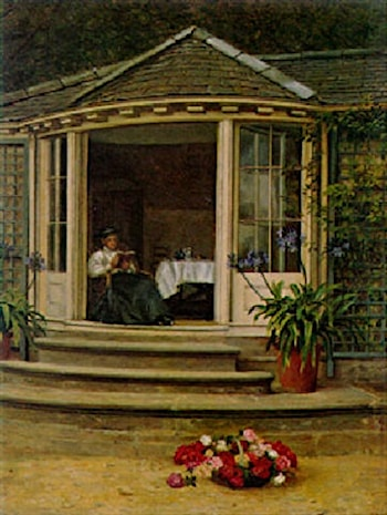 Tea in the Conservatory by Edith Hayllar