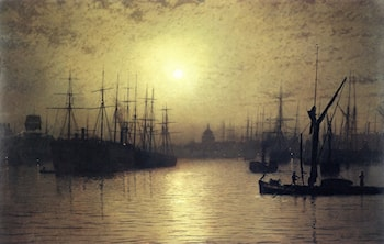 Nightfall Down the Thames by John Atkinson Grimshaw