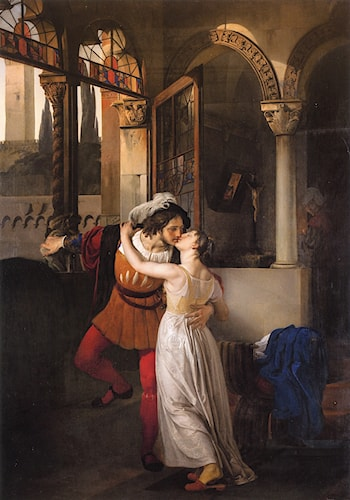 The Last Kiss of Romeo and Juliet by Francesco Hayez