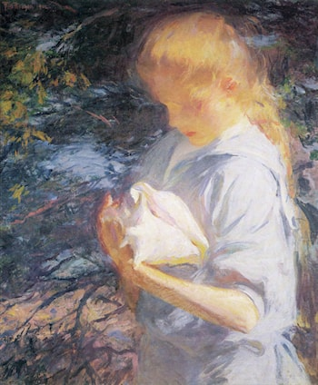 Eleanor Holding a Shell by Frank Weston Benson