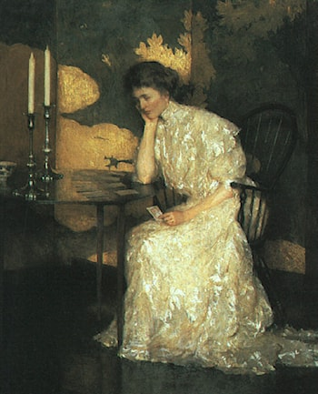 Girl Playing Solitaire by Frank Weston Benson