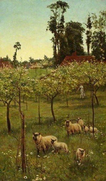 Sheep in an Orchard by Alice Mary Havers