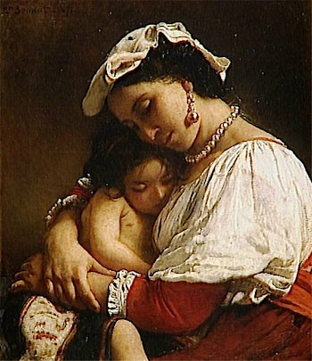 Italian Woman with Child by Leon Bonnat