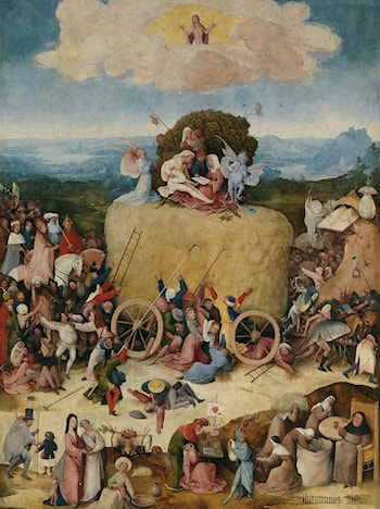Haywain, central panel of the triptych by Hieronymus Bosch