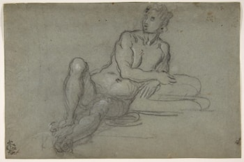 Reclining Female Nude Figure by Domenico Tintoretto