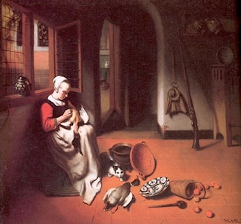 Woman Plucking a Duck by Nicolaes Maes