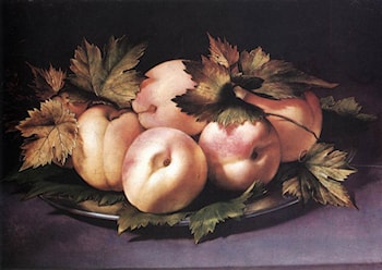 Still­life with Peaches and Fig­leaves by Giovanni Ambrogio Figino