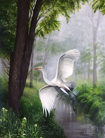 White Egret Flying by Anand PKC