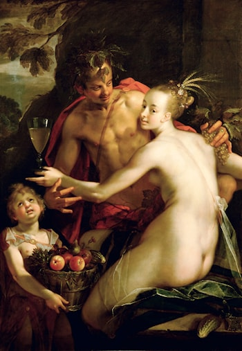 Bacchus, Ceres and Amor by Hans von Aachen