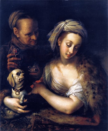 A Courtesan with Her Procuress by Hans von Aachen